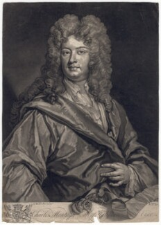 Charles Montagu, 1st Earl of Halifax, by John Faber Jr, after  Sir Godfrey Kneller, Bt - NPG D2559