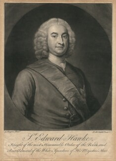 Edward Hawke, 1st Baron Hawke, by James Macardell, after  George Knapton - NPG D2576