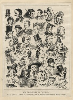 William Ewart Gladstone, by and after Harry Furniss, and after  John Leech, and after  Sir John Tenniel, and after  Linley Sambourne - NPG D2776