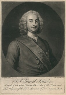 Edward Hawke, 1st Baron Hawke, by James Macardell, after  George Knapton - NPG D2960
