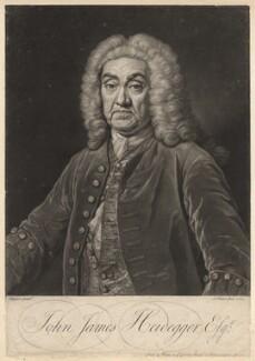 John James Heidegger, by John Faber Jr, after  Jean Baptiste van Loo - NPG D2997
