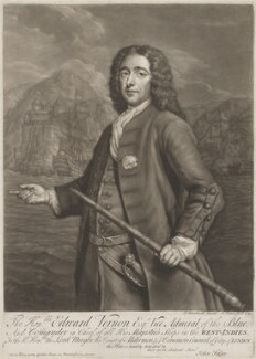 Edward Vernon, by John Faber Jr, after  Thomas Bardwell - NPG D3025
