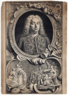 George Frideric Handel, by Jacobus Houbraken, by  Hubert-François Gravelot (né Bourguignon) - NPG D3213