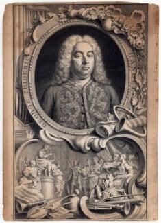 George Frideric Handel, by Jacobus Houbraken, by  Hubert-François Gravelot (né Bourguignon) - NPG D3213