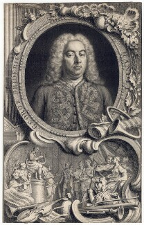 George Frideric Handel, by Jacobus Houbraken, by  Hubert-François Gravelot (né Bourguignon), 1738 - NPG D3214 - © National Portrait Gallery, London