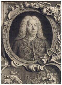George Frideric Handel, by Jacobus Houbraken, by  Hubert-François Gravelot (né Bourguignon), 1738 - NPG D3216 - © National Portrait Gallery, London