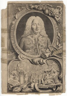 George Frideric Handel, by Jacobus Houbraken, by  Hubert-François Gravelot (né Bourguignon) - NPG D3217