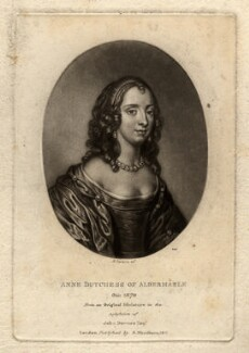 Anne Monck (née Clarges), Duchess of Albemarle, by Richard Earlom, published by  Samuel Woodburn, after  Unknown miniaturist - NPG D322