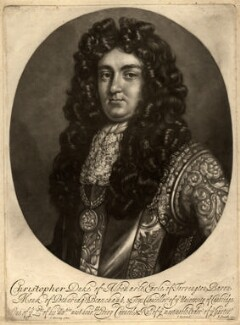 Christopher Monck, 2nd Duke of Albemarle, by John Smith, published by  Isaac Beckett, after  Thomas Murray - NPG D325