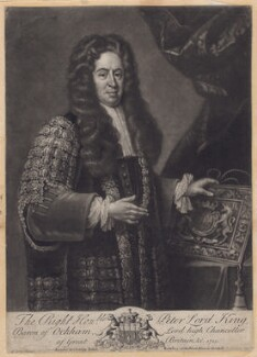 Peter King, 1st Baron King of Ockham, by John Simon, after  Michael Dahl, 1725 or after - NPG D3423 - © National Portrait Gallery, London