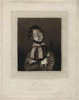 Edmund Kean as Shylock, by Henry Meyer, published by  R. Barnard, after  Walter Henry Watts, published 2 May 1814 (March 1814) - NPG D3451 - © National Portrait Gallery, London