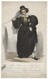 Frances ('Fanny') Maria Kelly as Lady Savage, by Francis William Wilkin, printed by  Graf & Soret, published by  Ackermann & Co - NPG D3461