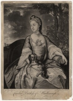Lady Caroline Spencer (née Russell), Duchess of Marlborough, by Richard Purcell (H. Fowler, Charles or Philip Corbutt), published by  Robert Sayer, after  Sir Joshua Reynolds, 1760s (circa 1759-1762) - NPG D3677 - © National Portrait Gallery, London