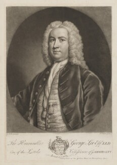 Sir George Lee, by and published by John Faber Jr, after  James Wills - NPG D3709