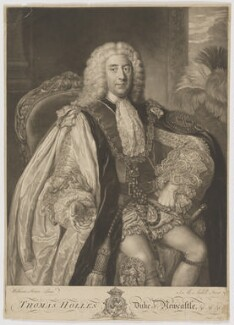 Thomas Pelham-Holles, 1st Duke of Newcastle-under-Lyne, by James Macardell, after  William Hoare - NPG D3721