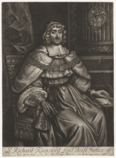 Sir Richard Rainsford, published by Richard Tompson, after  William Wolfgang Claret - NPG D3986