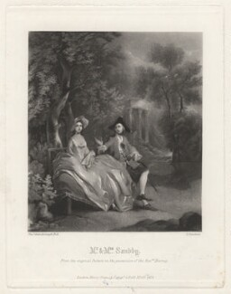 Thomas Sandby; Elizabeth Sandby (née Venables), by George Sanders, published by  Henry Graves & Co, after  Thomas Gainsborough - NPG D4154