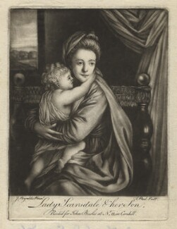 'Caroline Curzon (née Colyear), Lady Scarsdale with her son the Honourable John Curzon' (John Curzon; Caroline Curzon (née Colyear), Lady Scarsdale), by P. or S. Paul (Samuel de Wilde?), printed for  John Bowles, after  Sir Joshua Reynolds - NPG D4167