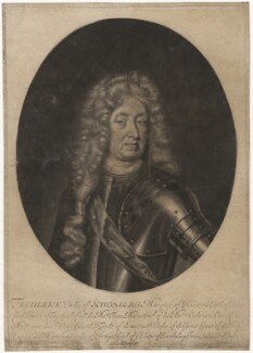 Frederick Herman de Schomberg, 1st Duke of Schomberg, by William Faithorne Jr, published by  John Savage, after  Michael Dahl - NPG D4169