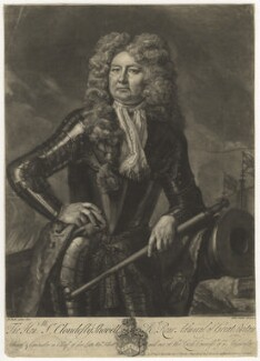Sir Cloudesley Shovell, by John Faber Jr, sold by  Thomas Bowles Jr, sold by  John Bowles, after  Michael Dahl - NPG D4227