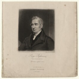 George Stephenson, by Samuel Bellin, published by  John Weale, after  Henry Perronet Briggs - NPG D4312