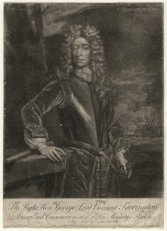 George Byng, 1st Viscount Torrington, by John Faber Sr, published by  Thomas Bakewell, after  Sir Godfrey Kneller, Bt - NPG D4375
