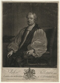 John Tillotson, by John Faber Jr, published by  Robert Wilkinson, after  Sir Godfrey Kneller, Bt - NPG D4385
