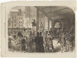 'The opening of Parliament: Her Majesty entering the Palace of Westminster' (Queen Victoria), published by Illustrated London News - NPG D4428