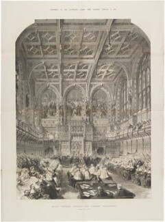 'Queen Victoria opening her seventh Parliament' (Queen Victoria), by Mason Jackson, published by  Illustrated London News - NPG D4429