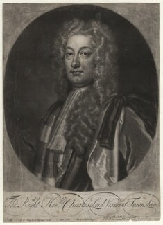 Charles Townshend, 2nd Viscount Townshend, by John Simon, sold by  Thomas Millward, after  Sir Godfrey Kneller, Bt - NPG D4493