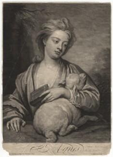 Catherine (née Kneller) Huckle as St Agnes, by John Smith, after  Sir Godfrey Kneller, Bt - NPG D4573