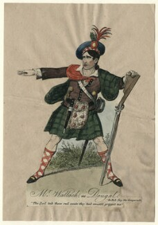 James William Wallack as Dougal in 'Rob Roy, the Gregarach', by C. Tomkins, after  George Cruikshank - NPG D4616