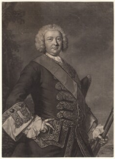 Sir Peter Warren, by John Faber Jr, after  Thomas Hudson - NPG D4627