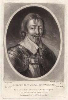 Robert Rich, 2nd Earl of Warwick, by Richard Earlom, after  Sir Anthony van Dyck - NPG D4640