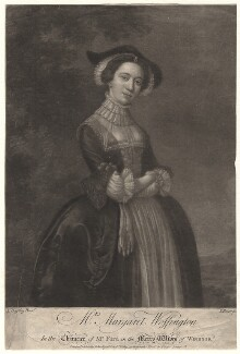 Peg Woffington as Mrs Ford in 'The Merry Wives of Windsor', by John Faber Jr, published by  John Ryall, published by  Robert Withy, after  Edward Haytley, 1751 - NPG D4874 - © National Portrait Gallery, London