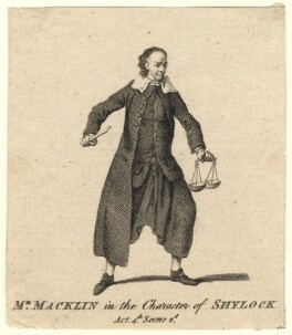 Charles Macklin as Shylock, after Unknown artist - NPG D5177