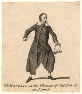 Charles Macklin as Shylock, after Unknown artist - NPG D5177