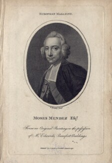 Moses Mendez (Mendes), by William Bromley, after  Unknown artist - NPG D5249