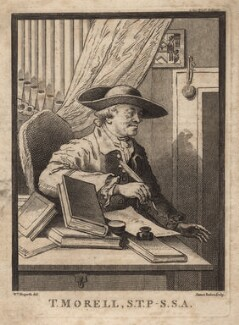 Thomas Morell, by James Basire, after  William Hogarth - NPG D5302