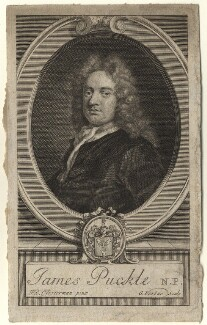 James Puckle, by George Vertue, after  John Closterman - NPG D5564