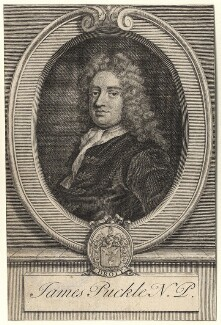 James Puckle, by George Vertue, after  John Closterman - NPG D5565