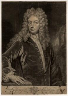 Joseph Addison, by John Faber Jr, after  Sir Godfrey Kneller, Bt - NPG D5619