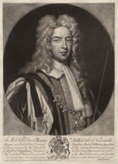 Thomas Pelham-Holles, 1st Duke of Newcastle-under-Lyne, by Peter Pelham, published by  John Bowles, after  Sir Godfrey Kneller, Bt - NPG D5718
