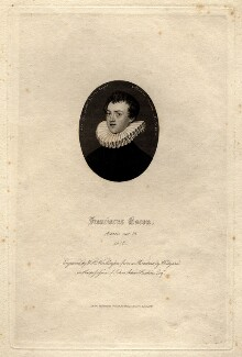 Francis Bacon, 1st Viscount St Alban, by William Henry Worthington, published by  William Pickering, after  Nicholas Hilliard - NPG D5879