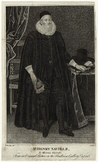 Sir Henry Saville, by R. Clamp, after  Marcus Gheeraerts the Younger - NPG D5908