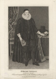 Sir Henry Saville, by R. Clamp, published by  E. & S. Harding, after  Silvester Harding, after  Marcus Gheeraerts the Younger - NPG D5909