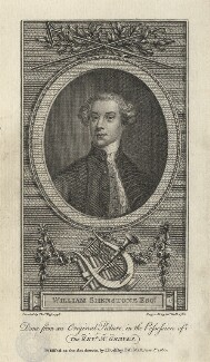 William Shenstone, by John Hall, published by  James Dodsley, after  Thomas Ross - NPG D5959