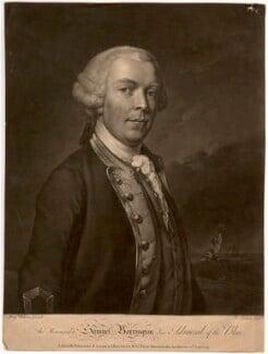 Samuel Barrington, by Richard Earlom, printed for  Robert Sayer, printed for  John Bennett, after  Benjamin Wilson - NPG D643