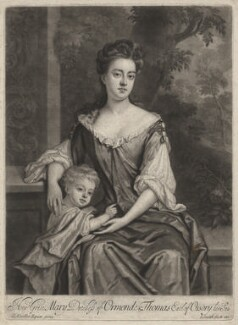 Mary Butler (née Somerset), Duchess of Ormonde and her son Thomas, Earl of Ossory, by and published by John Smith, after  Sir Godfrey Kneller, Bt - NPG D6603