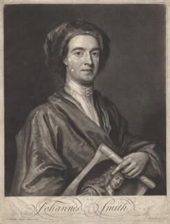 John Smith holding print by John Smith of Sir Godfrey Kneller, Bt, by John Smith, after  Sir Godfrey Kneller, Bt, 1716 (1696) - NPG D6782 - © National Portrait Gallery, London